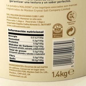 SUMMATURA - Sal Maldon en escamas - Información nutricional